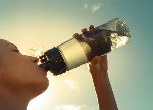 Drinking water to improve lymph flow